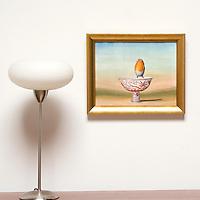 "Kroll: Bird on Cup, Digital Print, Image Dims. 11"" x 14"", Framed Dims. 13.5"" x 16.5"""