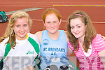 Emma Prenderville Farranfore/Maine Valley, Caoimhe Casey St Brendan's and Nora Griffin Farranfore/Maine Valley in the Junior and Master Athletic championships at An Riocht, Castleisland on Wednesday evening
