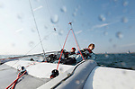 Onboard during a training session on a F18 before the Eurocat 2011, the great catamaran in Carnac, Brittany, France..Darren Bundock.Jeroen Van Leeuwen.C2 Formula 18