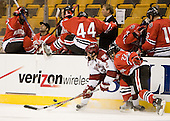 Dylan Reese (Harvard - 2), Greg Costa (NU - 22) - The Northeastern University Huskies defeated the Harvard University Crimson 3-1 in the Beanpot consolation game on Monday, February 12, 2007, at TD Banknorth Garden in Boston, Massachusetts.