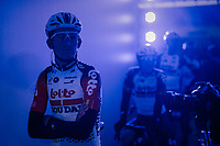 Tiesj Benoot (BEL/Lotto-Soudal) in the 'show-tunnel' leading into the 'Kuipke' velodrome where the team presentation takes place<br /> <br /> 74th Omloop Het Nieuwsblad 2019 <br /> Gent to Ninove (BEL): 200km<br /> <br /> ©kramon