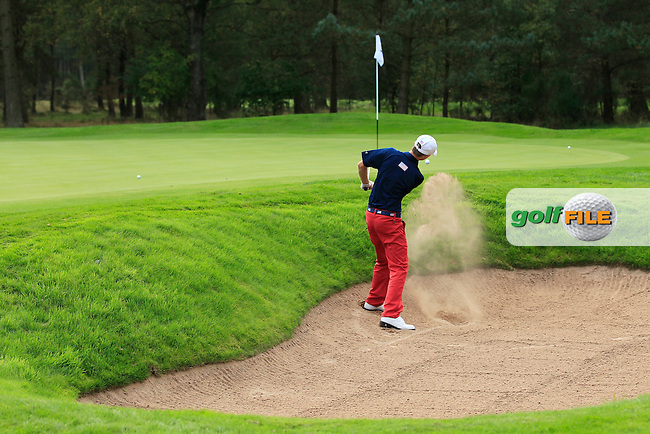 Austin Connelly (USA) on the 5th hole of the Mixed Fourballs, puts to go two up during the 2014 JUNIOR RYDER CUP at the Blairgowrie Golf Club, Perthshire, Scotland. <br /> Picture:  Thos Caffrey / www.golffile.ie