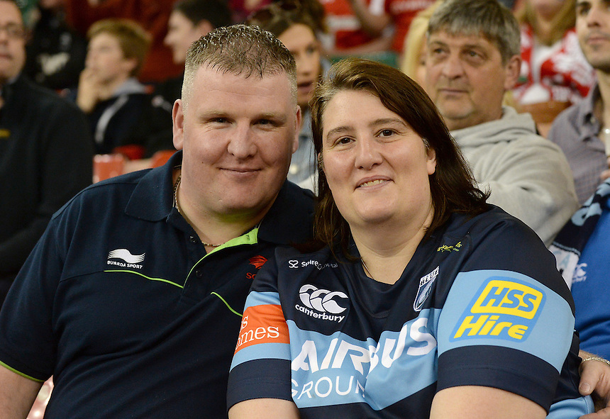 Fans enjoy the pre match atmosphere <br /> <br /> Photographer Ian Cook/CameraSport<br /> <br /> Rugby Union - Guinness PRO12 - Saturday 25th April 2015 - Cardiff Blues v Ospreys - Millennium Stadium - Cardiff<br /> <br /> &copy; CameraSport - 43 Linden Ave. Countesthorpe. Leicester. England. LE8 5PG - Tel: +44 (0) 116 277 4147 - admin@camerasport.com - www.camerasport.com