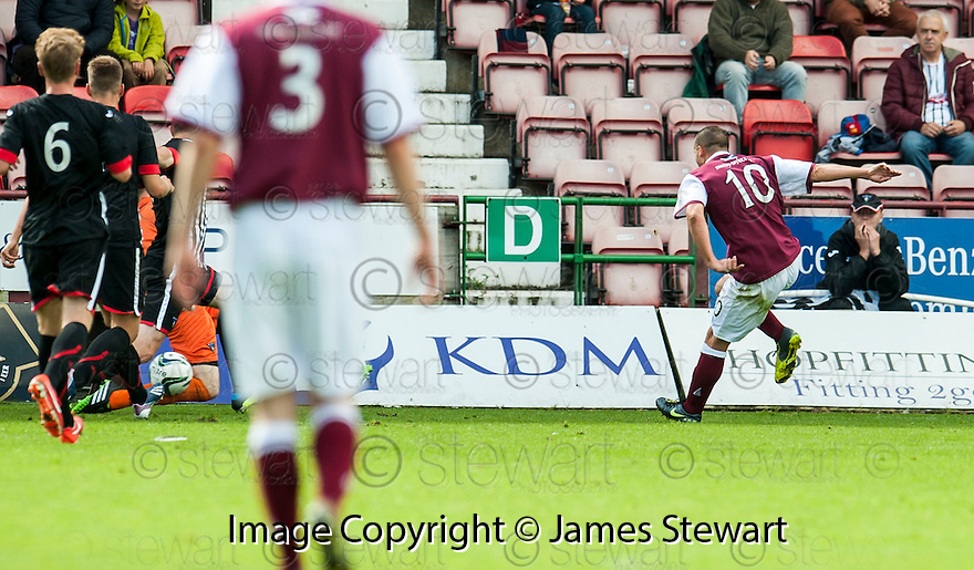 Arbroath's Steven Milne scores their first goal.