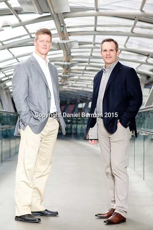 Smartsheet Chief Marketing Officer Brent Frei and Chief Executive Officer Mark Mader pose for a portrait Thursday March 26, 2015 at their offices in downtown Bellevue, Wash. Photo by Daniel Berman for Ozy.com
