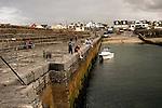 Fishing at low tide Enniscrone County Mayo <br /> Ireland