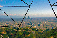 Los Angeles Skyline Power Lines, Digital oil painted texture,  Beautiful, Unique