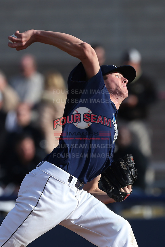 Mason Perryman of Bakersfield High School in Bakersfield, California during the MLBS Southern California Invitational Workout at the Urban Youth Academy on February 14, 2014 in Compton, California. (Larry Goren/Four Seam Images)