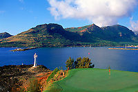 No. 16 hole on the Kiele Course at Kauai Lagoons, set against a backdrop of Nawiliwili Bay