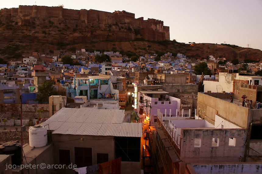 view on city and Fort Mehrangarh,  of Jodhpur at sunset time