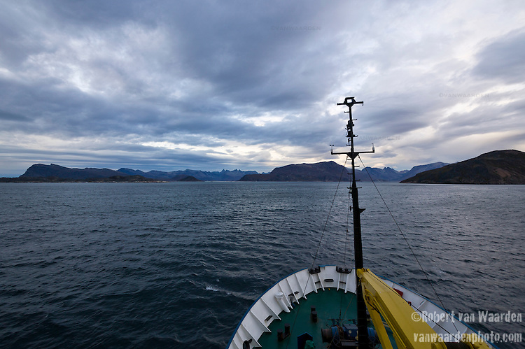 The bow of the Arctic expedition ship, Akademik Shokakskiy, as it sails along Greenland's south coast.