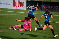 Kansas City, MO - Sunday September 3, 2017: Sydney Leroux Dwyer, Kailen Sheridan, Shea Groom during a regular season National Women's Soccer League (NWSL) match between FC Kansas City and Sky Blue FC at Children's Mercy Victory Field.