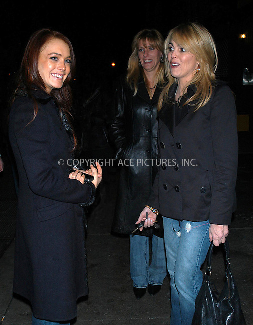 lindsay lohan and mom deena  out on the town in nyc.  bocklet.
