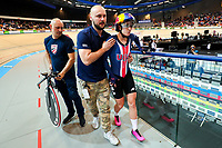 Picture by Alex Whitehead/SWpix.com - 03/03/2018 - Cycling - 2018 UCI Track Cycling World Championships, Day 4 - Omnisport, Apeldoorn, Netherlands - Chloe Dygert after breaking the World Record during the Women's Individual Pursuit qualifying.