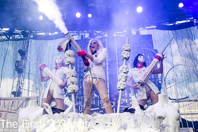 Maria Brink of In This Moment performs during the Carnival of Madness at Jacobs Pavilion at Nautica in Cleveland, Ohio.