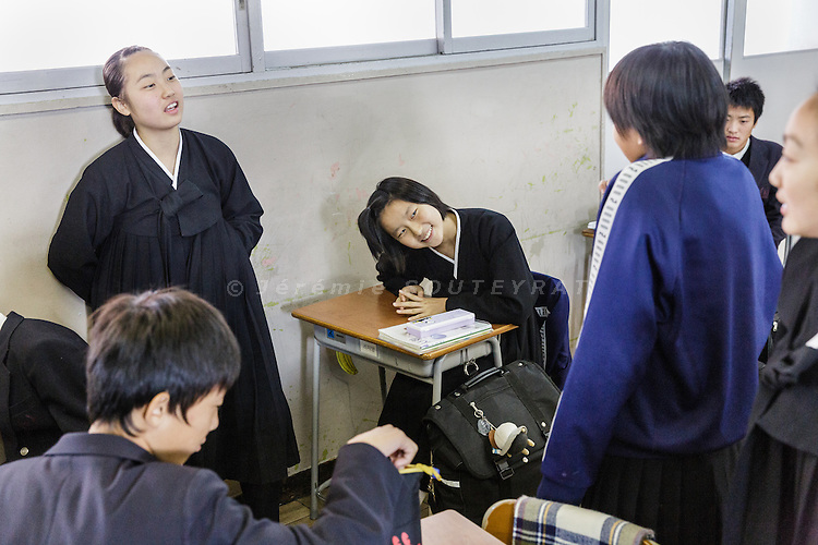 Osaka, Japan, November 25 2016 - Ms Chi-yan RI at school at East-Osaka Korean middle school (Higashi-Osaka chosen chugakko). <br /> 140 Korean schools are operated in Japan, including kindergartens and one university. The schools were initially funded by North Korea, but this money has dried up and the Japanese government has refused the Chosen Soren (General Association of Korean Residents in Japan with close ties to North Korea)&rsquo;s requests that it fund Korean schools.<br /> Professors at East-Osaka Korean middle school have not been paid for months.