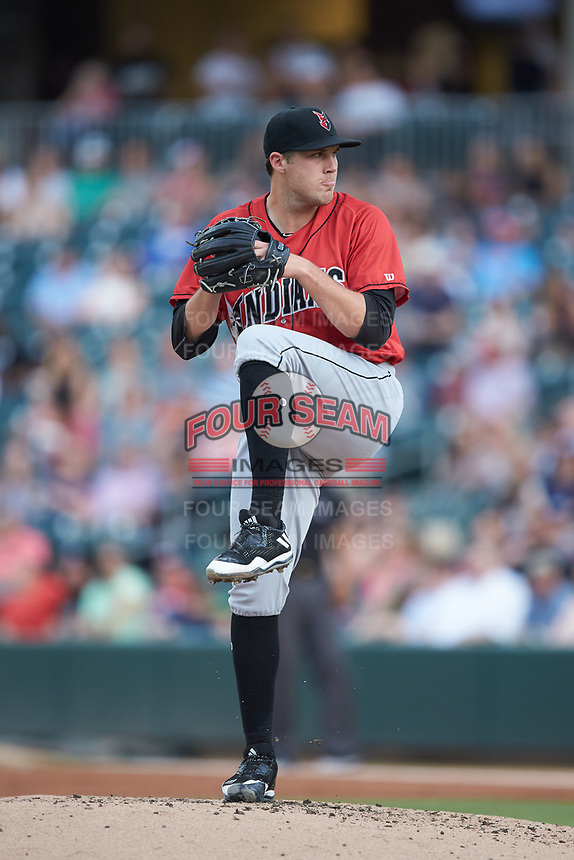Indianapolis Indians starting pitcher Alex McRae (28) in action against the Charlotte Knights at BB&T BallPark on May 26, 2018 in Charlotte, North Carolina. The Indians defeated the Knights 6-2.  (Brian Westerholt/Four Seam Images)