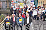 DONT REGISTER DONT PAY: Kieran McNulty, Cllr Sam Locke and Sean Moraghan and Kirean Allen of the United Left Alliance leading the Household Charge protest march in Tralee on Saturday.