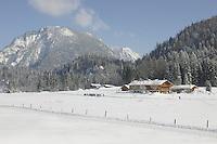Deutschland, Bayern, Oberbayern, Chiemgau, zwischen Ruhpolding und Reit im Winkl, Schneelandschaft und Skilanglaufloipe beim Weitsee