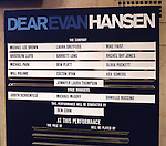 Lobby cast board for the Broadway Opening Night Performance of 'Dear Evan Hansen'  at The Music Box Theatre on December 3, 2016 in New York City.