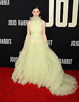 """HOLLYWOOD, CA - OCTOBER 15: Thomasin McKenzie attends the premiere of Fox Searchlights' """"Jojo Rabbit"""" at Post 43 of the American Legion Hall on October 15, 2019 in Los Angeles, California.<br /> CAP/ROT/TM<br /> ©TM/ROT/Capital Pictures"""