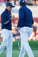 Ricky Fowler (Team USA) on the 1st green during the Saturday morning Foursomes at the Ryder Cup, Hazeltine national Golf Club, Chaska, Minnesota, USA.  01/10/2016<br /> Picture: Golffile | Fran Caffrey<br /> <br /> <br /> All photo usage must carry mandatory copyright credit (&copy; Golffile | Fran Caffrey)