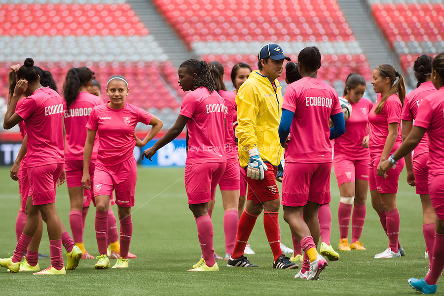 June 7, 2015: The Ecuador team at a prematch training session ahead of a Group C match at the FIFA Women's World Cup Canada 2015 between Cameroon and Ecuador at BC Place Stadium on 8 June 2015 in Vancouver, Canada. Sydney Low/AsteriskImages