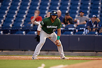 Daytona Tortugas Hendrik Clementina (24) leads off first during a Florida State League game against the Tampa Tarpons on May 17, 2019 at George M. Steinbrenner Field in Tampa, Florida.  Daytona defeated Tampa 8-6.  (Mike Janes/Four Seam Images)