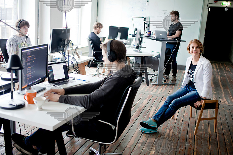 Kaidi Ruusalepp, founder and CEO funderbeam.com, with colleagues in their office.