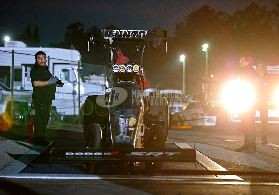 Nov 10, 2018; Pomona, CA, USA; The dragster of NHRA top fuel driver Leah Pritchett is weighed on the scales during qualifying for the Auto Club Finals at Auto Club Raceway. Mandatory Credit: Mark J. Rebilas-USA TODAY Sports