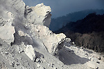 Extrusion lobes on flank of Rerombola lava dome of Paluweh Volcano, Flores, Indonesia.