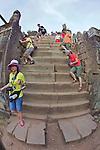 Climbing Stairs To Phnom Bakheng