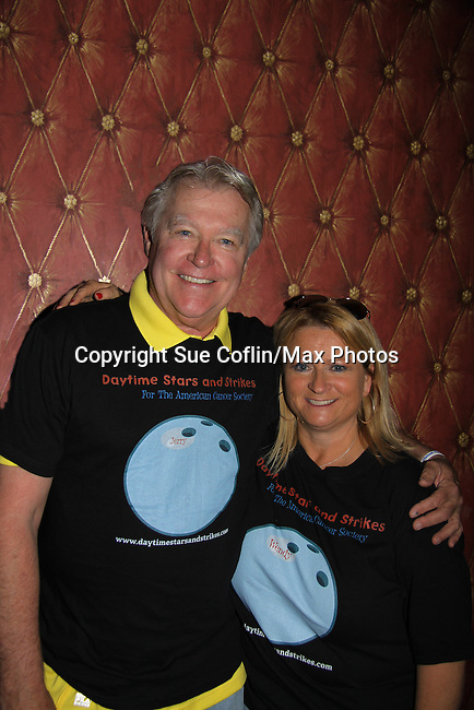 Wendy Madore poses with One Life To Live and Guiding Light Jerry verDorn hosts the 10th Annual Daytime Stars and Strikes Charity Event to benefit the American Cancer Society on October 13, 2013 at Bowlmor Lanes, New York City, New York.  (Photo by Sue Coflin/Max Photos)
