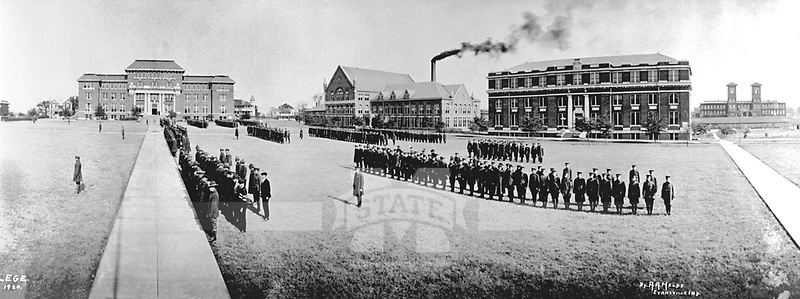 Cadets in formation on the Drill Field. (© Mississippi State University)