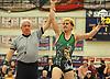Mike Silipo of Seaford raises his arm after his victory at 182 pounds over Christian Phillips of Cold Spring Harbor in the Nassau County Division II varsity wrestling finals at Cold Spring Harbor High School on Saturday, Feb. 10, 2018.