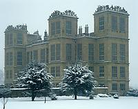 The grandeur of Harwick Hall in the snow