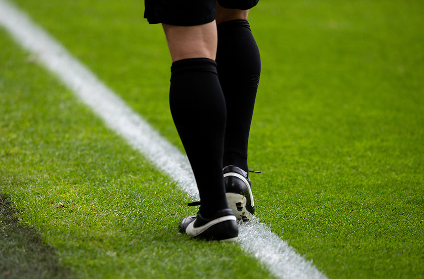 An assistant referee warms up<br /> <br /> Photographer Alex Dodd/CameraSport<br /> <br /> The Premier League - Sheffield United v Chelsea - Saturday 11th July 2020 - Bramall Lane - Sheffield<br /> <br /> World Copyright © 2020 CameraSport. All rights reserved. 43 Linden Ave. Countesthorpe. Leicester. England. LE8 5PG - Tel: +44 (0) 116 277 4147 - admin@camerasport.com - www.camerasport.com