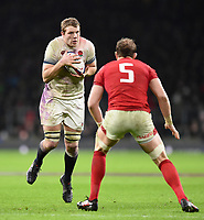 Joe Launchbury of England in possession. Natwest 6 Nations match between England and Wales on February 10, 2018 at Twickenham Stadium in London, England. Photo by: Patrick Khachfe / Onside Images