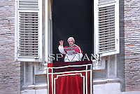 Pope Benedict XVI ,Angelus prayer form the window of his private studio. The Pope celebrates today the sixty years on the anniversary of his ordination to the priesthood.29 June, 2011