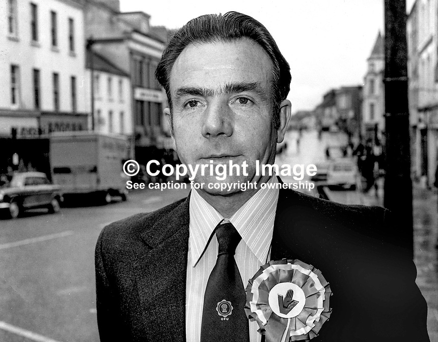Robert Overend, candidate, Mid-Ulster, VUUP, Vanguard Unionist Progressive Party, election, Northern Ireland Constitutional Convention, Stormont, N Ireland, April 1975. Prominent member, Orange Order, and Ulster Farmers' Union. 197504000395<br /> <br /> Copyright Image from Victor Patterson, 54 Dorchester Park, Belfast, UK, BT9 6RJ<br /> <br /> t1: +44 28 9066 1296 (from Rep of Ireland 048 9066 1296)<br /> t2: +44 28 9002 2446 (from Rep of Ireland 048 9002 2446)<br /> m: +44 7802 353836<br /> <br /> e1: victorpatterson@me.com<br /> e2: victorpatterson@gmail.com<br /> <br /> The use of my copyright images is subject to my Terms &amp; Conditions.<br /> <br /> It is IMPORTANT that you familiarise yourself with them. They are available on my website at www.victorpatterson.com.<br /> <br /> None of my copyright images may be used on a website unless they are visibly watermarked, i.e. &copy; Victor Patterson within the body of the visible image. Metadata denoting my copyright must NOT be deleted. <br /> <br /> Web use (maximum size - 400 kb) is extra at currently recommended NUJ rates.