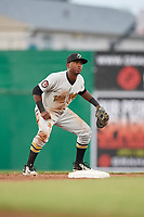 West Virginia Black Bears second baseman Melvin Jimenez (7) during a game against the Batavia Muckdogs on June 18, 2018 at Dwyer Stadium in Batavia, New York.  Batavia defeated West Virginia 9-6.  (Mike Janes/Four Seam Images)