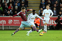 Pictured: Nathan Dyer of Swansea (R) Saturday 10 January 2015<br />