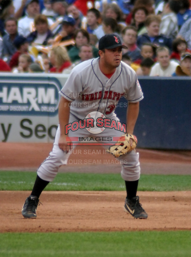 August 31, 2003:  Keith Luuloa of the Indianapolis Indians, Class-AAA affiliate of the Milwaukee Brewers, during an International League game at Fifth Third Field in Toledo, OH.  Photo by:  Mike Janes/Four Seam Images