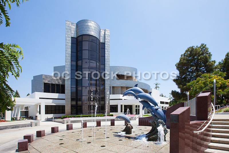 Dolphin Sculptures and Water Fountains at the Cerritos Library and Civic Center