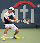 Kei Nishikori (JPN) defeats Leonardo Mayer (ARG) 6-4, 6-4 at the Citi Open in Washington, DC,  on August 6, 2015.