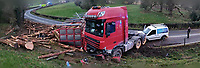 2019 03 01 Overturned lorry near Llanidloes, mid Wales, UK