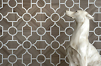 Chatham 3, a waterjet stone mosaic, shown in Driftwood and Calacatta Tia, is part of the Silk Road® collection by New Ravenna.