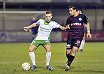 2015-10-31 /voetbal / seizoen 2015 - 2016 / Dessel Sport - KSK Heist / Nick Spaenhoven (l) (Dessel) schermt de bal af voor Youssef Boulaouali (r) (Heist) .