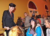 Christy Pickering mingles with a crowd in Lee Hall's Bettersworth Auditorium on Tuesday [March 1]. A certified public accountant from Biloxi and State Institutions of Higher Learning trustee, she spoke about overcoming abusive relationships. In her speech, &quot;Girl, You Deserve Better,&quot; she shared personal experiences from being in an abusive relationship and how she ultimately found happiness. <br />