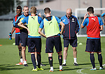 David Weir and Mark Warburton getting their tactics across to the players